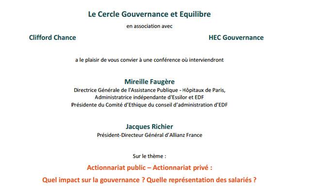 Actionnariat public – Actionnariat privé : Quel impact sur la gouvernance ? Quelle représentation des salariés ?